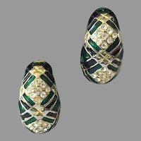 Vintage 1980's Enamel & Rhinestone Half Hoop Clip Earrings
