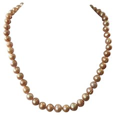 Vintage Champagne Cultured Freshwater Pearl Necklace