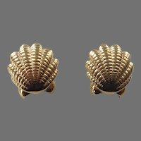Vintage Nina Ricci Shiny Gold Tone Shell Pierced Earrings