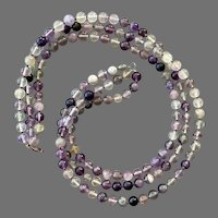 Three Strand Fluorite Beaded Necklace With Sterling Clasp