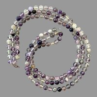 Fluorite Three Strand Beaded Necklace With Sterling Clasp