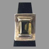 REDUCED Vintage Modernist Sterling Yellow Stone Ring