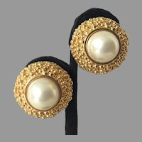 Vintage Ciner Classic Faux Pearl Gold Tone Clip Earrings