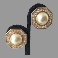 Vintage Swarovski S.A.L. Gold Tone Rhinestone Faux Pearl Clip Earrings