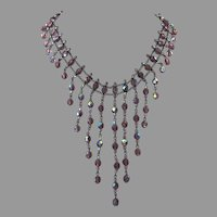 REDUCED Purple Aurora Borealis Crystal Festoon Bib Necklace