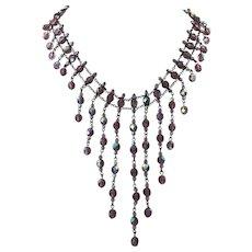 Purple Aurora Borealis Crystal Festoon Bib Necklace
