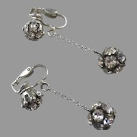 Vintage Clear Rhinestone Dangle Ball Earrings