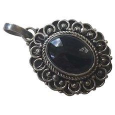 Vintage Sterling Black Onyx Pendant