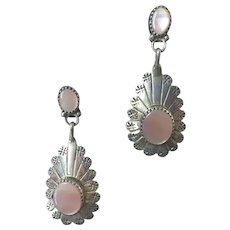 Native American Style Sterling Pink Mother-Of-Pearl Earrings