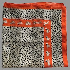 Polyester Scarf Made In Italy Dalmation Dog Theme