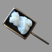 REDUCED Antique Early 1900's Black & White Cameo Stickpin