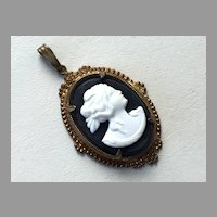 Vintage Black & White Celluloid Cameo Pendant