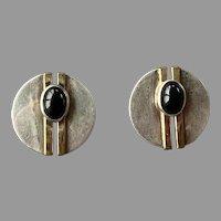 Modernist Artist Signed Sterling Gold-Filled Onyx Earrings