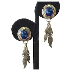 Native American Sterling Azurite Feather Drop Earrings