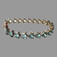 Vintage Sterling Vermeil Heart Shaped Aqua Rhinestone Bracelet