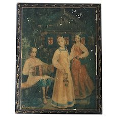 REDUCED Vintage Russian Lacquer Box With Garmon Player