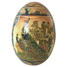 REDUCED Vintage Chinese Ceramic Decorative Hand Painted Egg Peacocks & Flowers