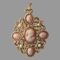 Vintage Avon Romantic Poet Cameo Pendant Necklace 1994