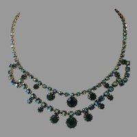 REDUCED Vintage Green Aurora Borealis Rhinestone Necklace