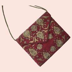Vintage Maroon Wool Felt Envelope Purse With Metallic Embroidery