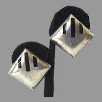Modernist Mexican 950 Sterling Black Onyx Earrings