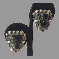 Vintage Mexican Sterling Black Onyx Mask Earrings Iguala