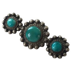 Vintage Native American Sterling & Turquoise Bar Pin