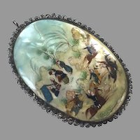 Antique Persian Hand Painted Mother-Of-Pearl Pendant