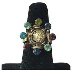 Vintage Rhinestone Adjustable Fashion Ring