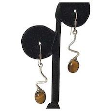 Modernist Sterling Tiger's Eye Dangle Earrings