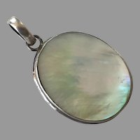 Large Sterling & White Mother-Of-Pearl Pendant
