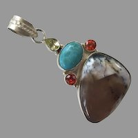 Vintage Sterling Agate Jasper Larimar CZ Pendant