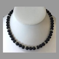 Black Agate Beaded Necklace With Rhinestone Rondelle Spacers