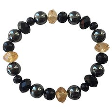 Black Onyx, Hematite, Crystal Stretch Bracelet