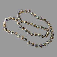 Chinese Raised Relief Cloisonne Beaded Necklace
