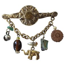 REDUCED Vintage Victorian Revival Robert Rose Bar Pin With Charms