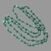 Vintage 1920's Green Czech Glass Beaded Flapper Length Endless Necklace