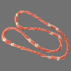 Salmon Coral & Cultured Freshwater Rice Pearls Necklace