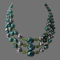 Vintage 1950's 60's Triple Strand Beaded Necklace Shades Of Teal Blue