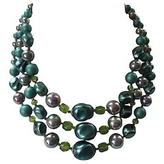 REDUCED Vintage 1950's 60's Triple Strand Beaded Necklace Shades Of Teal Blue