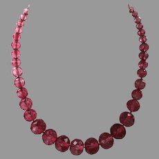 Vintage Raspberry Faceted Crystal Choker Necklace