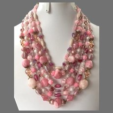 Vintage 1950's 60's Six Strand Shades Of Pink Beaded Necklace