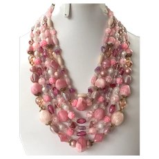 REDUCED Vintage 1950's 60's Six Strand Shades Of Pink Beaded Necklace