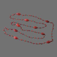 REDUCED 1920's Czech Red Glass Beaded Necklace