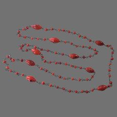 1920's Czech Red Glass Beaded Necklace