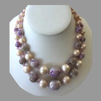 Vintage 1950's 60's Purple and White Plastic Beaded Necklace