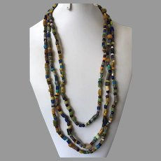 Vintage Triple Strand African Trade Bead Necklace