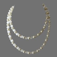 Vintage 1950's Double Strand Glass Pearl & Crystal Beaded Necklace