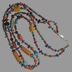 Vintage Double Strand Trade Bead Necklace