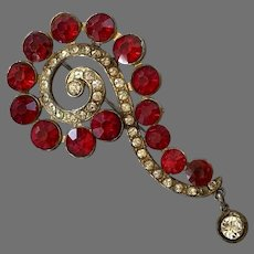 Vintage 1940's Large Red Rhinestone Question Mark Pin